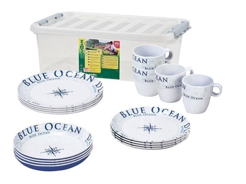 Service mélamine 16 pièces stack box blue ocean