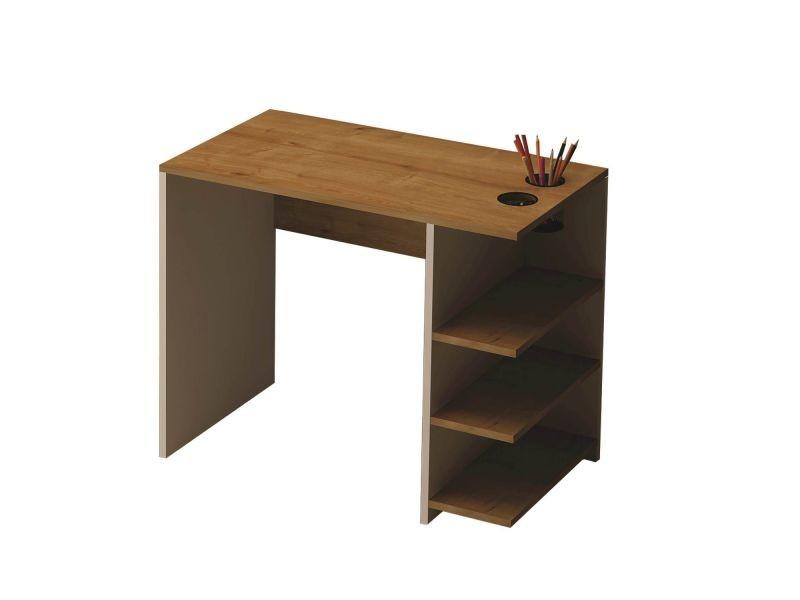 Bureau en bois avec étagères bts cm beige conforama
