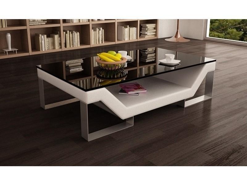 Table basse design blanche pieds chromé ulys-