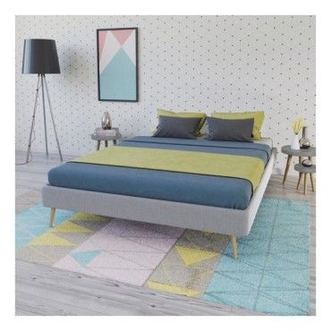 lit borea 160x200 tissu 1 sommier gris clair vente. Black Bedroom Furniture Sets. Home Design Ideas