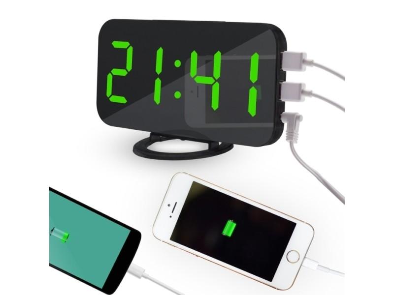 803e7605f9 Réveil multifonctionnel réfléchissant d'affichage à vert led de miroir  créatif avec la fonction de snooze et 2 port de charge d'usb