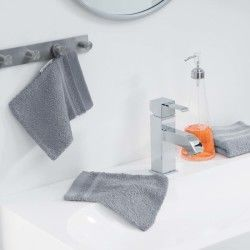 Lot de 2 gants de toilette 15 x 21 cm gris