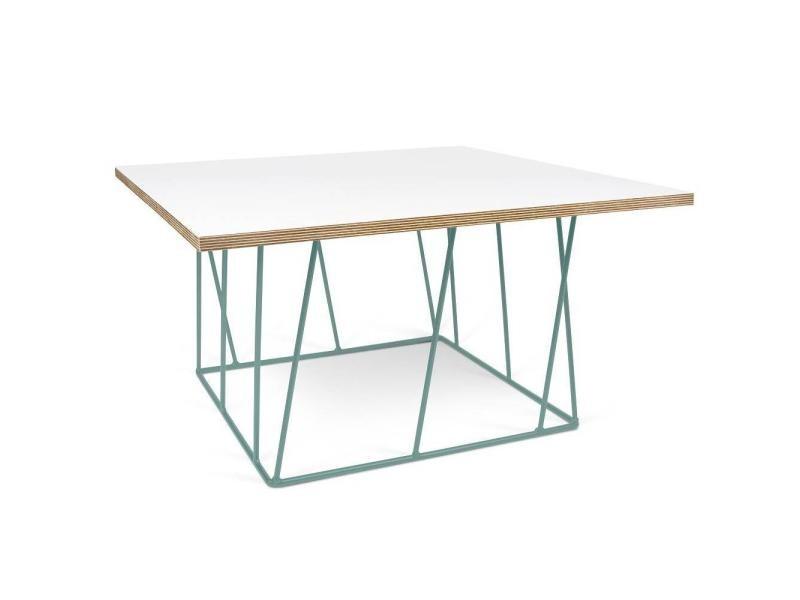 Table basse carrée helix 75 plateau blanc mat/bois structure laquée verte 20100868151