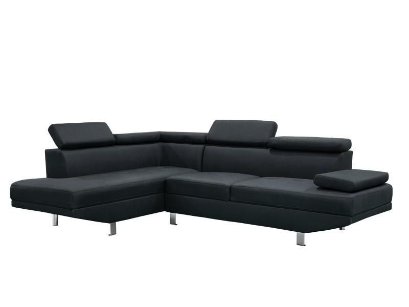 Canapé d'angle design gauche tissu noir tiago-