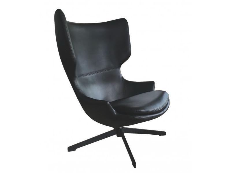 Torini - fauteuil rotatif aspect cuir noir
