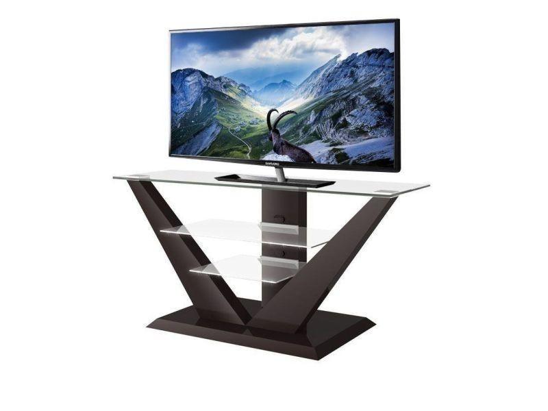 Meuble tv design - couleur : marron fonce laque