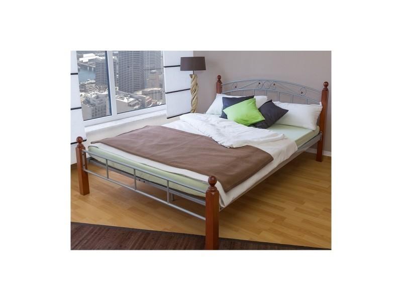 design metal lit double 140 x 200 cadre de lit lattes bois argent 1336 conforama. Black Bedroom Furniture Sets. Home Design Ideas