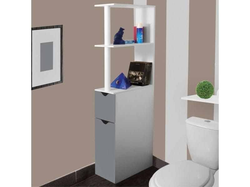 Meuble wc tag re bois gain de place pour toilette 2 portes grises vente de id market conforama for Meuble wc conforama