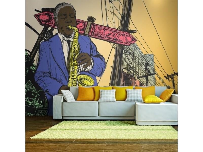 Papier peint - saxophonist in new york 200x154
