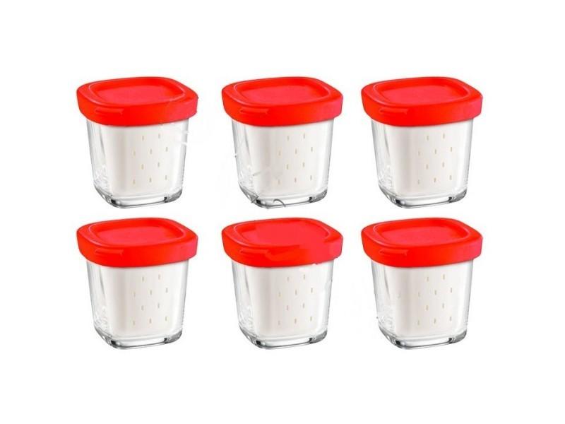 Coffret de 6 pots avec égoutoir delices box pour yaourtiere seb