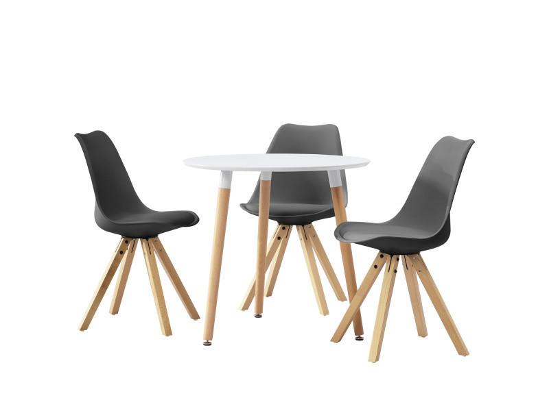 Table ronde avec le design rétro blanc - gris