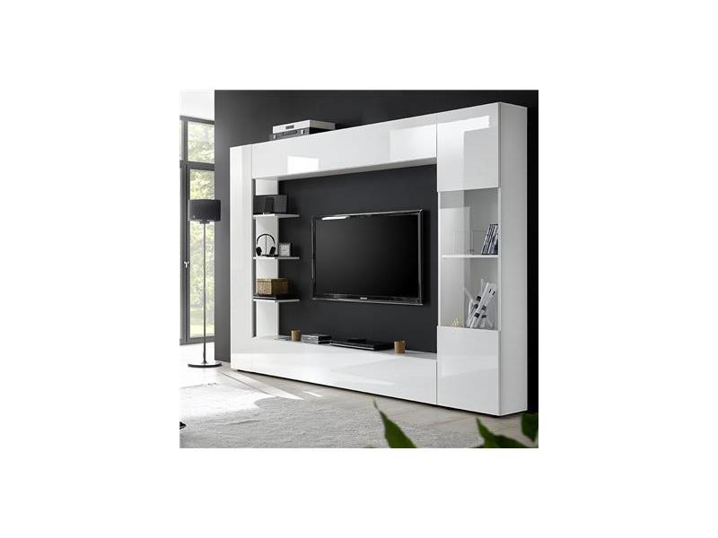 Meuble Tv Mural Blanc Laque Design Fino Vente De