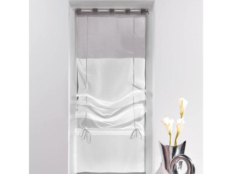 un store droit passant rideau voile bicolore blanc gris 45 x 180 cm vente de rideau. Black Bedroom Furniture Sets. Home Design Ideas