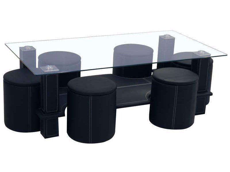 Table basse avec 6 poufs en pvc coloris noir - Vente de Table ...