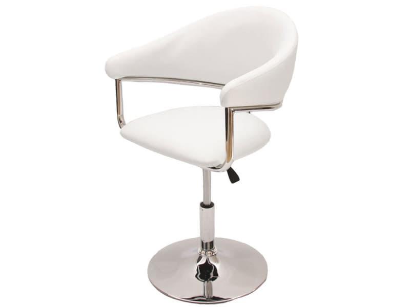 Chaise de séjour como, réglable en hauteur, simili-cuir, blanc