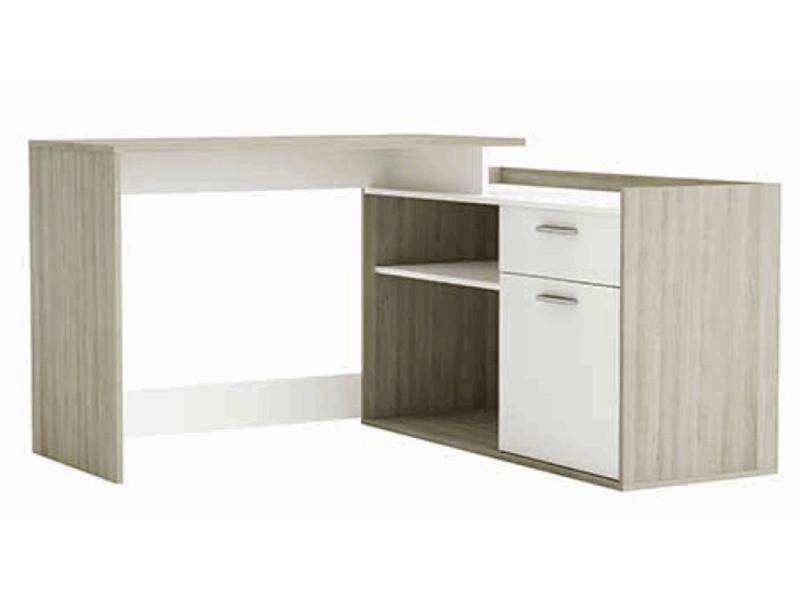 Bureau dangle en bois coloris chêne shannon blanc perle dim : l
