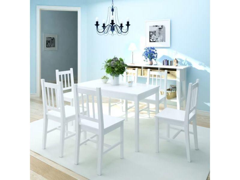 Vidaxl jeu de salle à manger 7 pcs pinède blanc