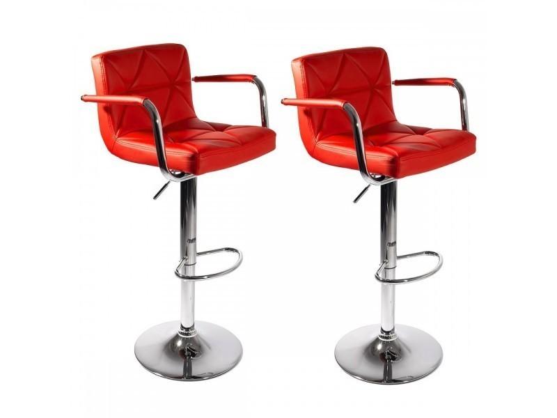 Malvy Lot 2 Tabourets Bar Design Réglables Avec Accoudoirs Rouge