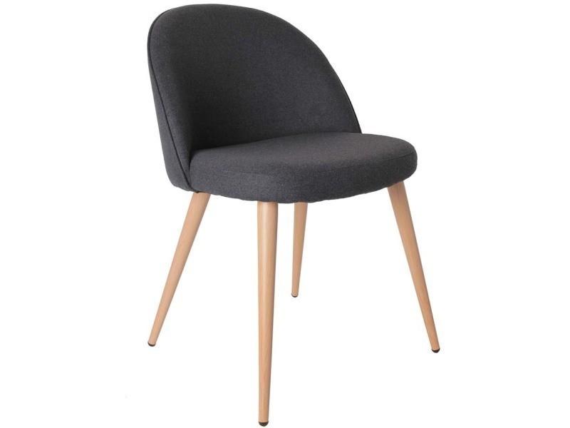 Fauteuil gris style scandinave vintage assise en feutrine