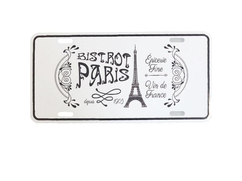 Plaque décorative métallique paris bistrot