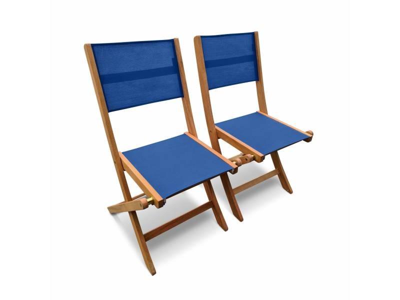 Chaises de jardin en bois et textilène - almeria bleu nuit - 2 chaises pliantes en bois d'eucalyptus huilé et textilène