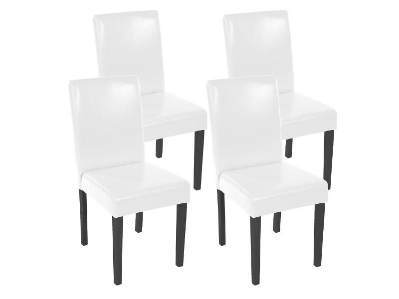Lot de 4 chaises de séjour littau, simili-cuir, blanc, pieds foncés
