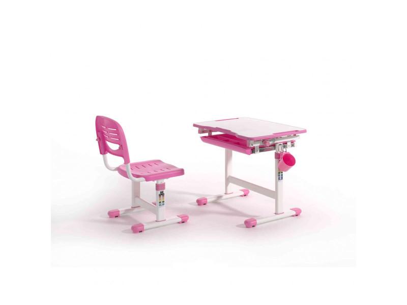 Bureau enfant ajustable en hauteur rose 201 chaise - terre de nuit