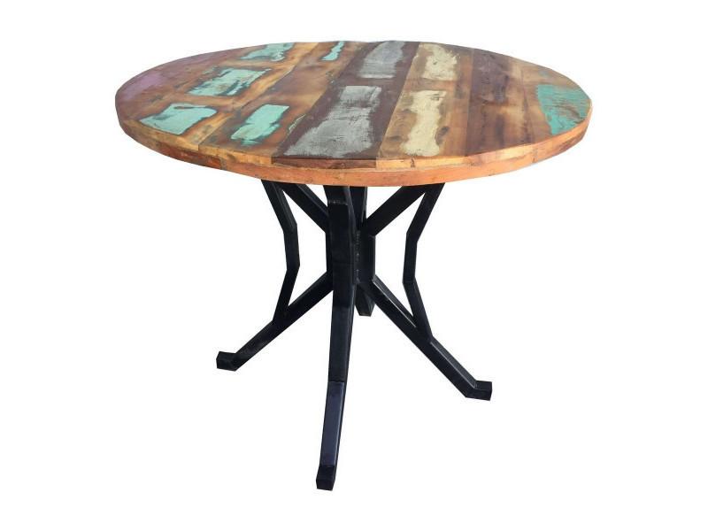 Indy - table repas ronde bois massif recyclé coloré