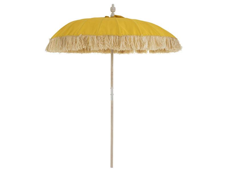 Parasol tissu jaune/bambou naturel - hotot - l 190 x l 190 x h 250 - neuf