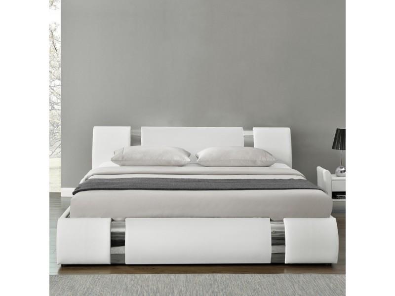 lit coffre sommier relevable nova blanc tailles 180x200 vente de meubler design conforama. Black Bedroom Furniture Sets. Home Design Ideas