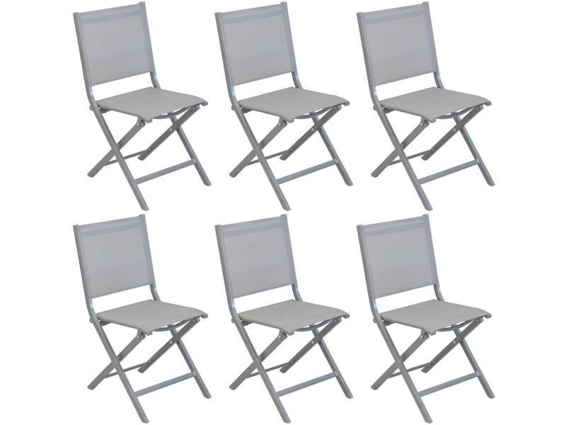 Chaises pliantes en aluminium brossé thema (lot de 6)