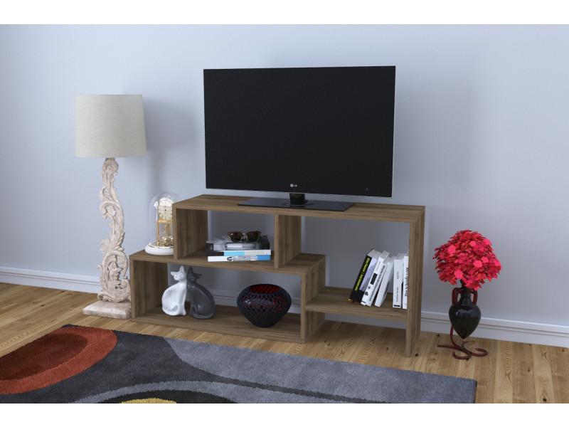 Meuble tv design clover motif bois noyer marron clair