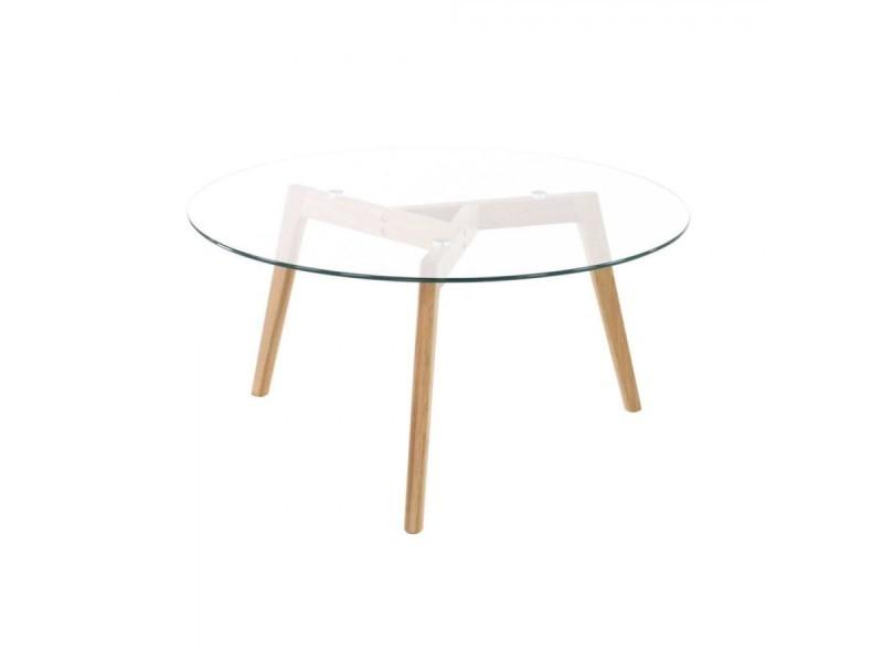 Table basse ronde plateau verre diamètre 90 cm - scandino BLOOM-TB01