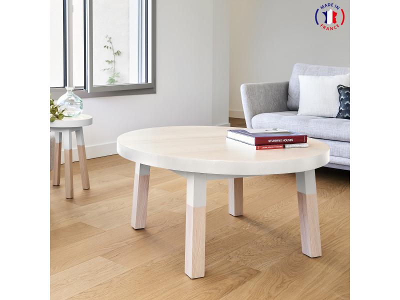 Table basse ronde 100% frêne massif 100x100 cm blanc balisson - 100% fabrication française