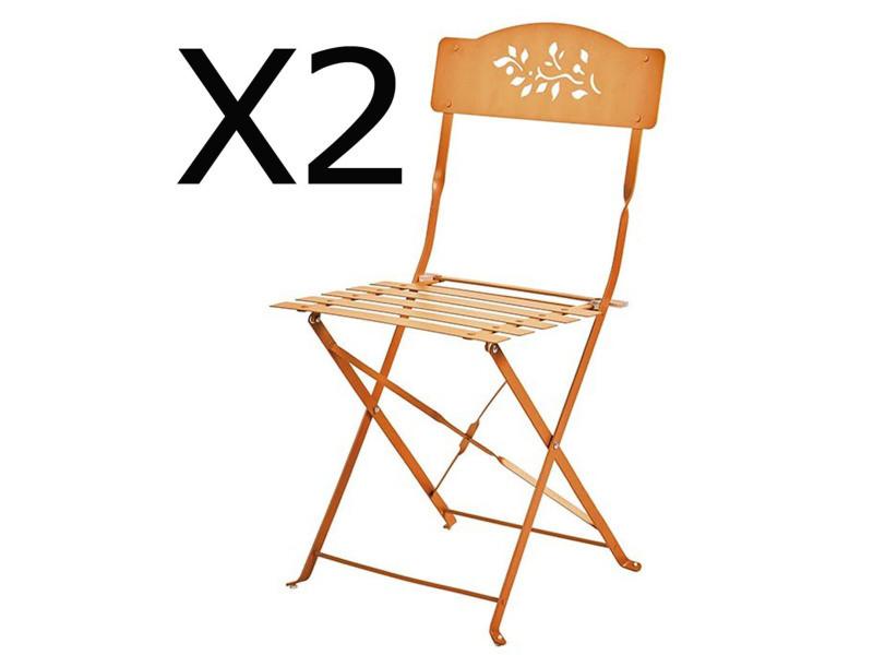 Lot de 2 chaises pliantes de jardin en acier et textilène coloris orange -pegane-