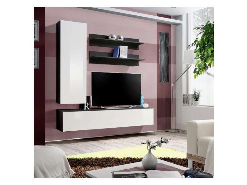 Ensemble meuble tv mural - fly iii - 160 cm x 170 cm x 40 cm - noir et blanc