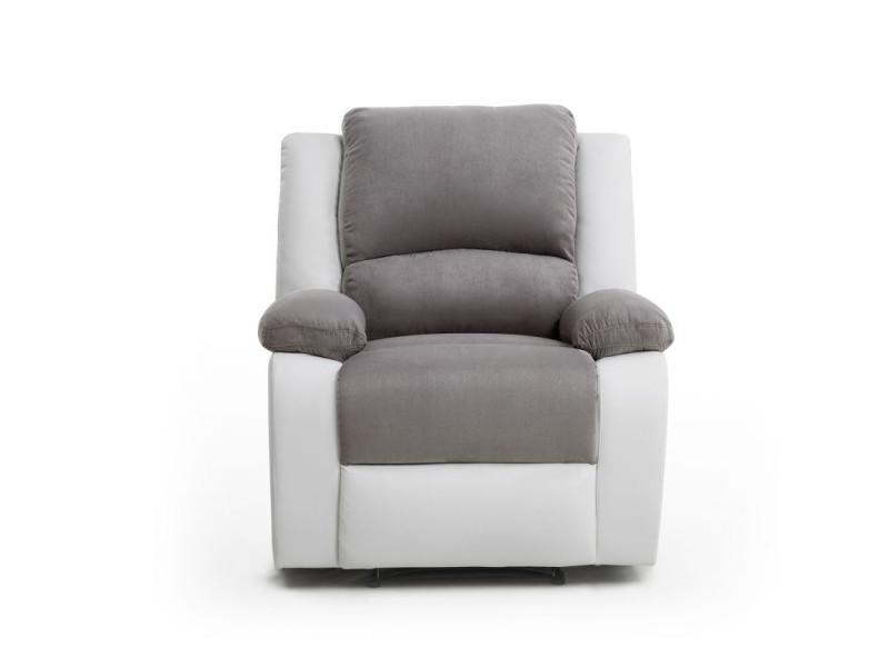 Fauteuil relaxation 1 place microfibre   simili detente - couleur - blanc    gris 9121GRBL1 - Vente de Canapé convertible - Conforama e4b1b15ecde4
