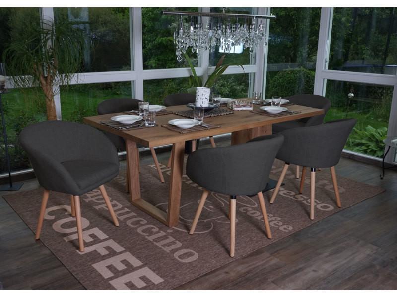 6x chaise de salle à manger malmö t633, fauteuil, design rétro des années 50 ~ tissu, gris