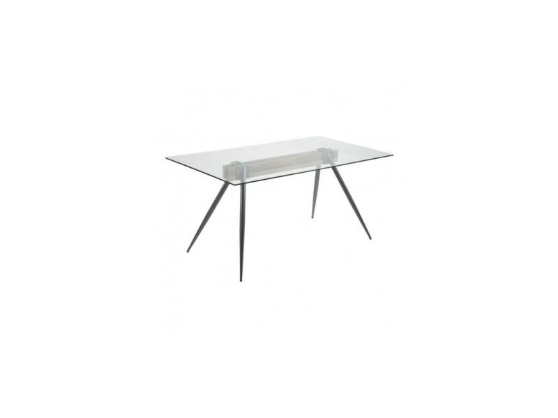 Table à manger 160 cm verre et acier airy