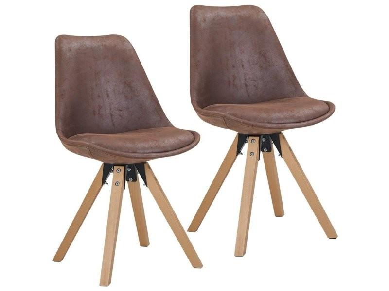 Lot de 4 chaises de salle manger en tissu aspect cuir - Conforama chaises salle a manger ...