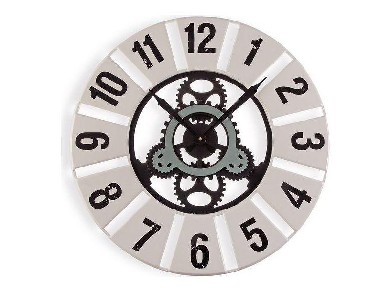 Horloges murales et de table magnifique horloge murale métal bois mdf (60 x 4,5 x 60 cm)