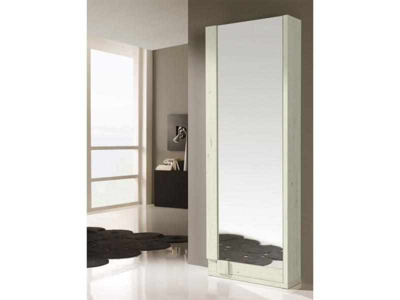 Meuble à chaussures bois blanchi + miroir - siya - l 70 x l 24 x h 197 - neuf