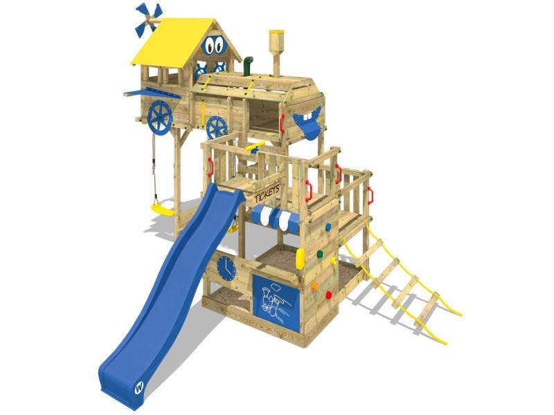 Wickey aire de jeux smart express portique en bois tour d´escalade avec 2  sièges de balançoire, toboggan et bac à sable - Vente de Cabane et bac à  sable - ... 90f6aabcdf8e