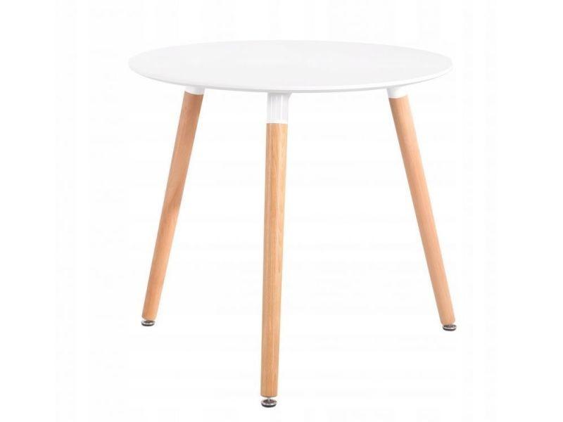 Mstore - table moderne pour salle à manger cuisine 60 cm style scandinave - hauteur totale 71 cm - pieds solides en pin - blanc