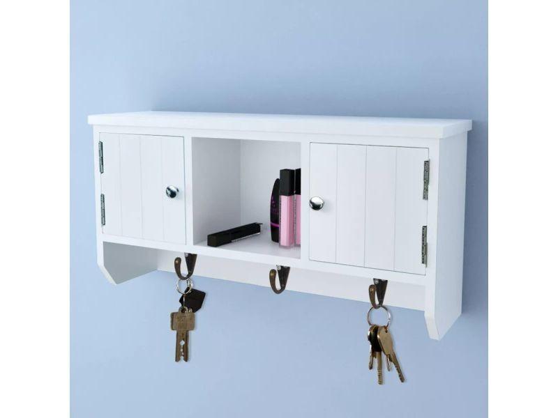 Vidaxl armoire murale pour clés et bijoux avec portes crochets