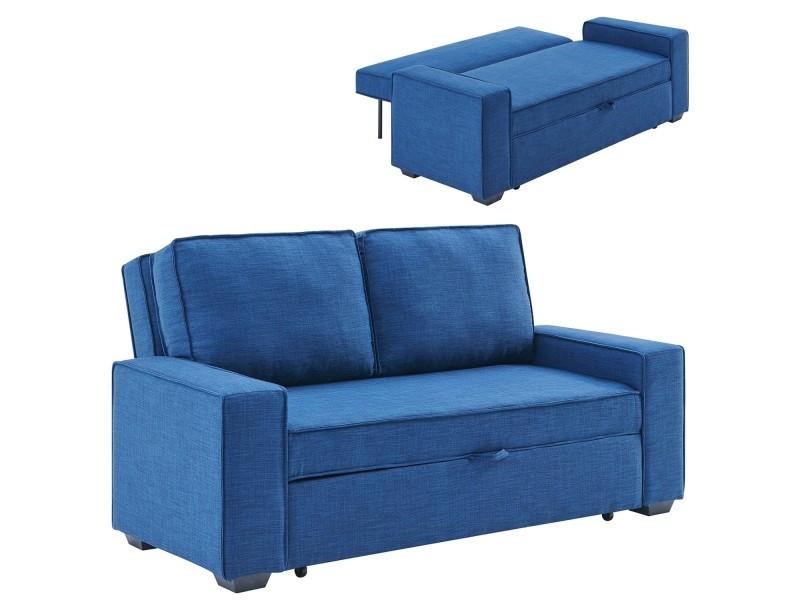 Canapé 3 places convertible en tissu bleu james