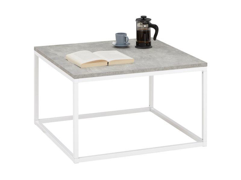 Table basse hades, table de salon table d'appoint carrée design retro vintage, plateau en mélaminé béton et cadre en métal blanc