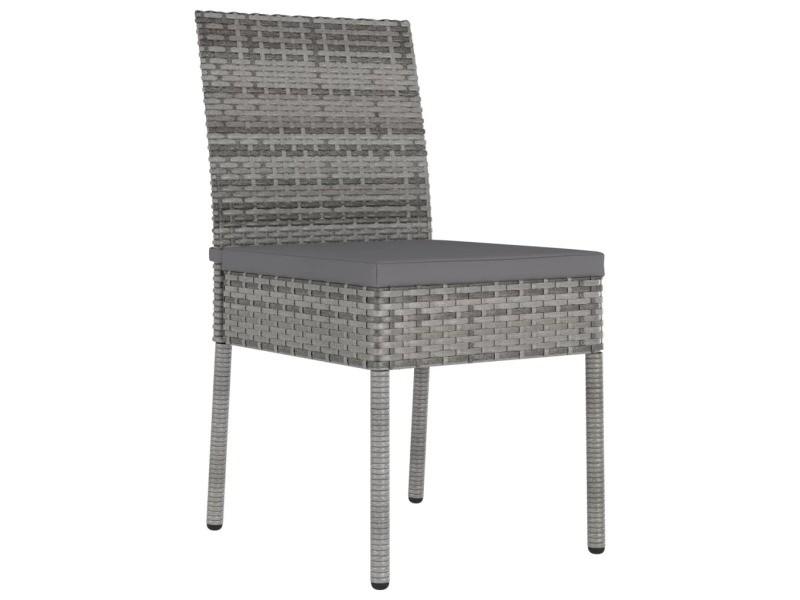 Vidaxl chaises de salle à manger de jardin 4 pcs résine tressée gris 315109