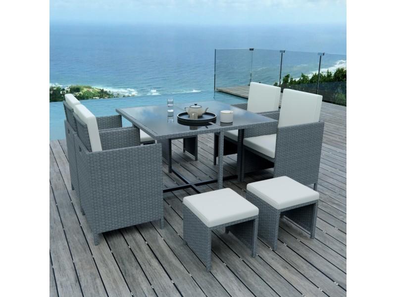 8 places - ensemble encastrable salon / table de jardin résine ...
