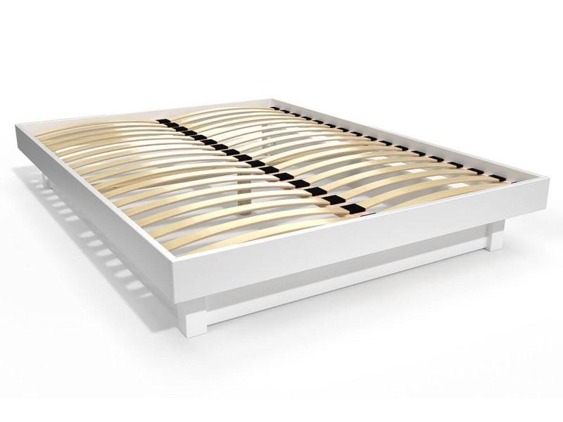 Lit plateforme bois massif pas cher 140x200 blanc PLAT142-LB